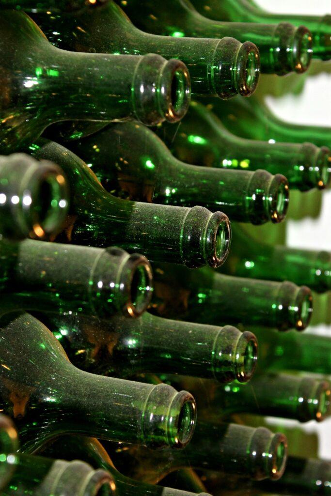 Botella de vidrio recicladas